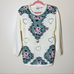 Vintage Floral and Heart Chunky Knit Sweater